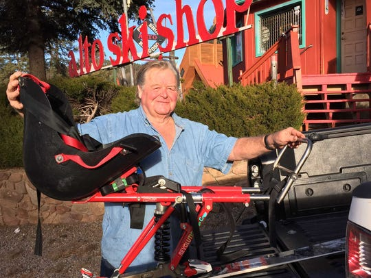 Don Damron and the mono-ski he mounted onto a single