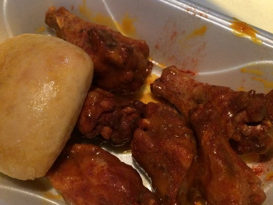 Gold sauce wings from Ghot Wingz in East Nashville.