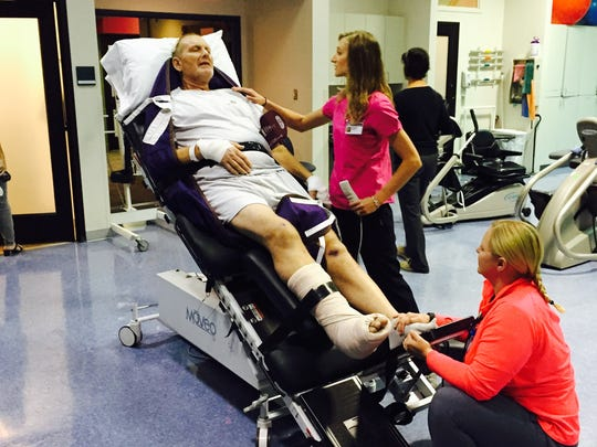 Handout photo of Ardie Keune in the hospital after his accident.