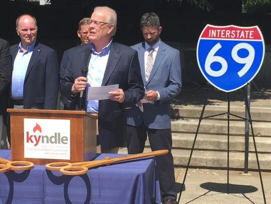In this file photo, Henderson Mayor Steve Austin speaks at the dedication of an I-69 Ohio River Crossing project office on Barrett Court in Henderson.