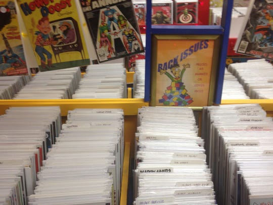 Bins of comics at New Krypton Comics.