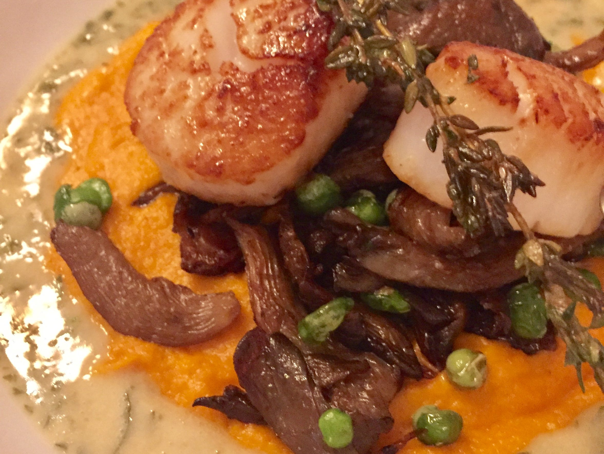 Scallops with carrot puree, peas, oyster mushrooms