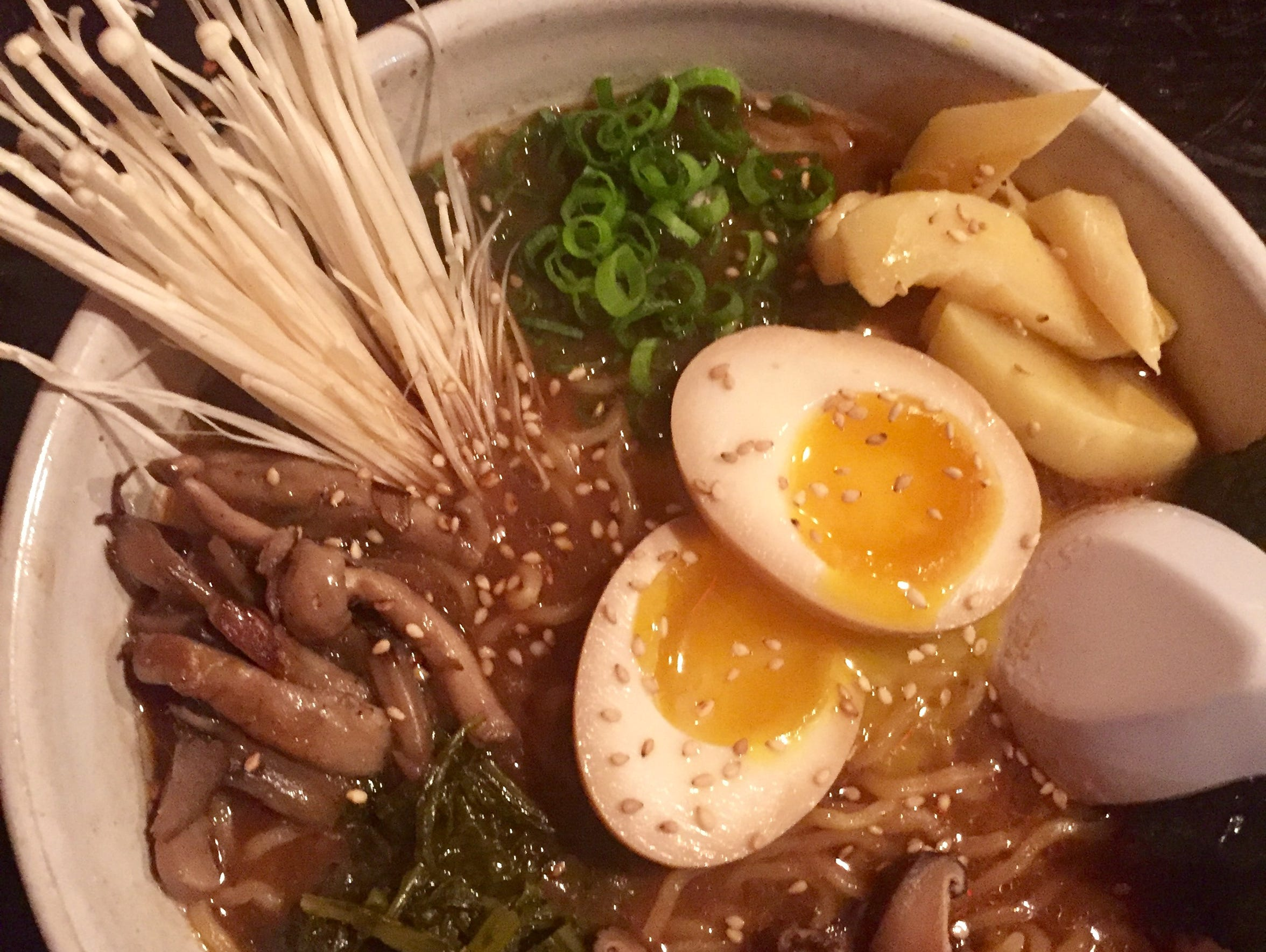 Miso mushroom ramen, one of a couple styles of the