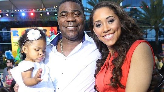 Tracy Morgan and Megan Wollover attend the 'Rio 2' premiere on March 21 in Miami Beach, Florida. Morgan is in intensive care after a car accident in New Jersey.