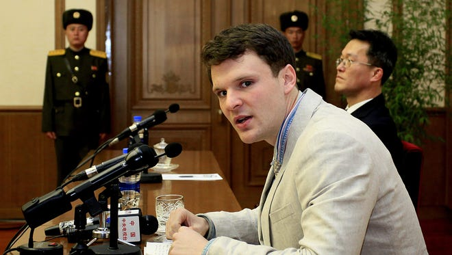 American student Otto Warmbier speaks during a press conference on Monday, Feb. 29, 2016, in Pyongyang, North Korea.