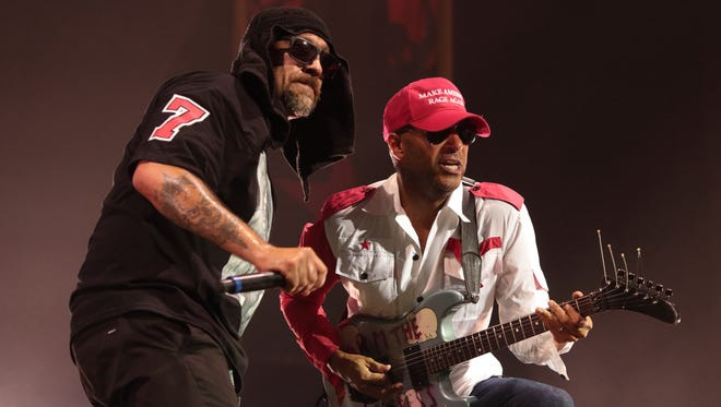 B-Real (left) and Tom Morello of Prophets of Rage perform at the BB&T Pavilion on Aug. 20, 2016 in Camden.