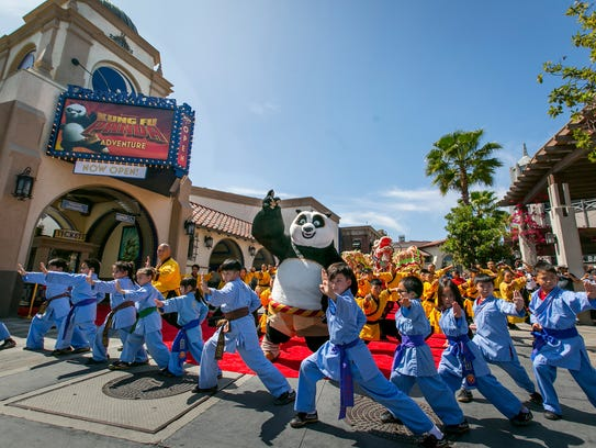 Po was on hand to debut the new Dreamworks Theatre