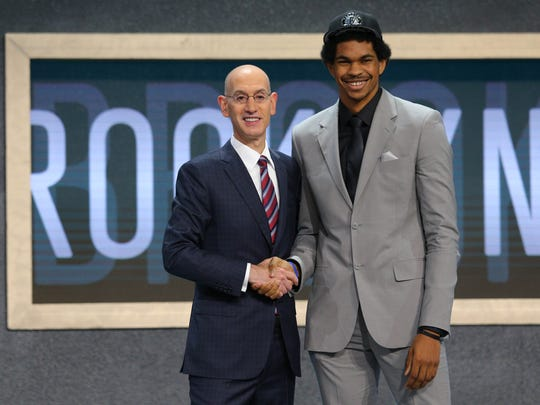 Texas' Jarrett Allen is introduced by NBA commissioner