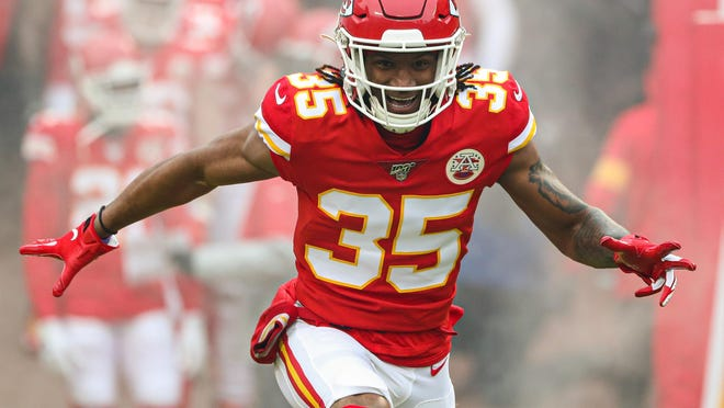 Kansas City Chiefs cornerback Charvarius Ward is introduced before a AFC Divisional Round playoff football game against the Houston Texans at Arrowhead Stadium. The former undrafted free agent is expected to anchor the Chiefs' cornerback group in the 2020 season.