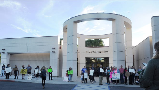 Demonstrators stood outside Conejo Valley High School, where board meetings take place, last year to protest a literature policy that would eventually be passed by the board.