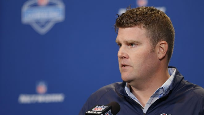 Titans general manager Jon Robinson at a press conference at the NFL combine Wednesday.