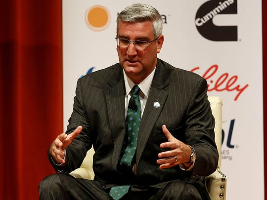 Lt. Gov. Eric Holcomb, a Republican, speaks Tuesday, Aug. 30, 2016, during a forum for Indiana gubernatorial candidates hosted by the Indiana University Public Policy Institute.