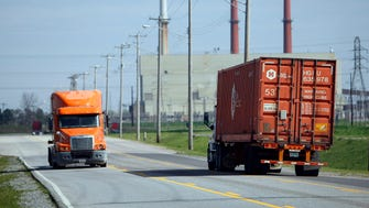 March 28, 2017 - Truck traffic on Riverport Road near the 700,000-square-foot Eletrolux Home Products facility.