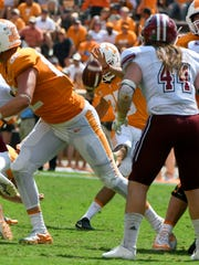 Tennessee kicker Aaron Medley (25) during the second half of their 17-13 win over  UMass Minutemen Saturday, Sep. 23, 2017 at Neyland Stadium in Knoxville, Tenn.