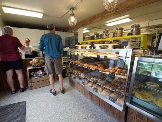 Customers in line at Old World Breads in Lewes.