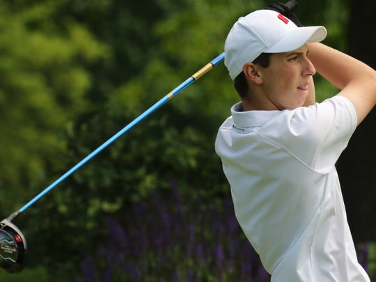 Homestead's Robbie Morway tees off during the sectional