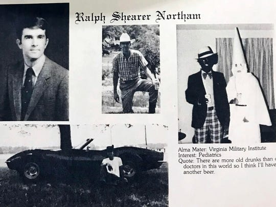 A photo from Virginia Gov. Ralph Northam's medical school yearbook shows two men, one in blackface and one in a Ku Klux Klan robe and hood, on the same page as the governor.