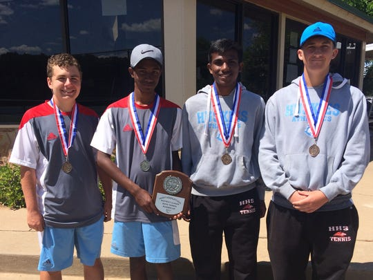 Members of the Hirschi tennis team who won medals in Wednesday's District 6-4A Tennis Tournament.