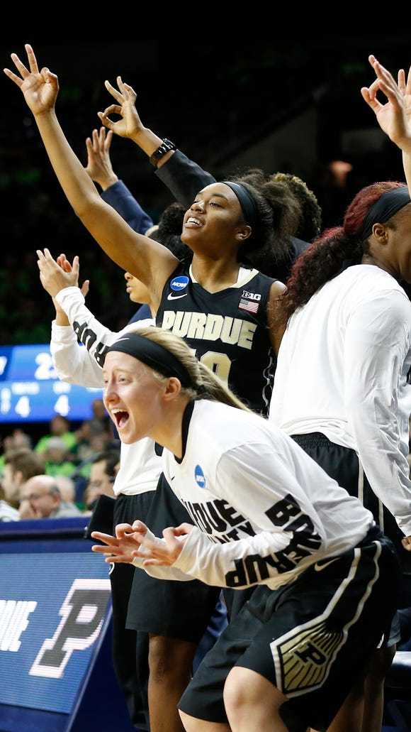 Abby Abel and the rest of the Purdue bench erupt after a three-point basket by Ashley Morrissette in the second half against Green Bay in the first round of the women's NCAA tournament Friday, March 17, 2017, at Purcell Pavilion at the Joyce Center on the campus of Notre Dame. Purdue defeated Green Bay 74-62.