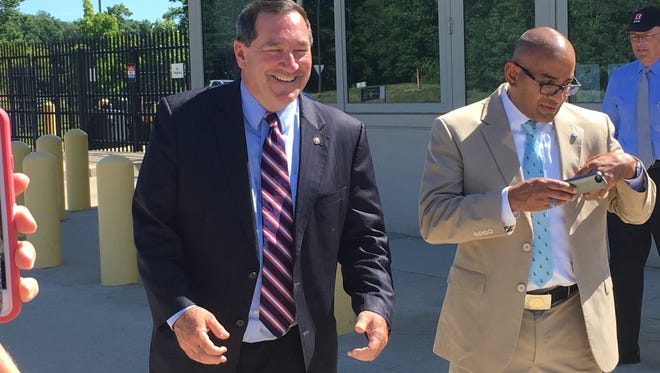 Sen. Joe Donnelly spoke to the media Monday after meeting with FBI officials in Indianapolis to discuss anti-terrorism efforts and the partnership between local and federal authorities.
