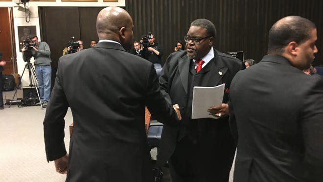 Indianapolis Councilman Stephen Clay accepts congratulations after becoming council president Jan. 8.