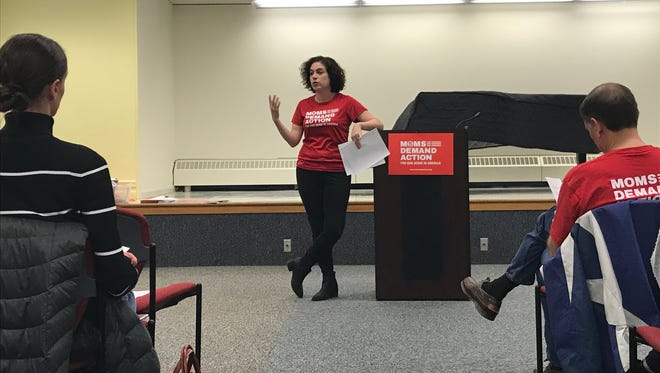 Christine McGrath, a Verona resident and the co-leader of the Essex County Moms Demand Action, a group advocating against gun violence, speaks in Millburn on Tuesday, March 20, 2018.