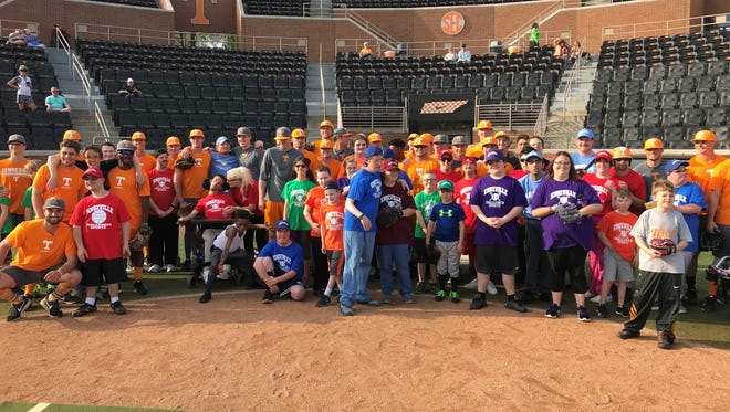 About 30 members of the Knoxville Challenger's League took part in an afternoon with UT baseball players Wednesday at Lindsey Nelson Stadium.