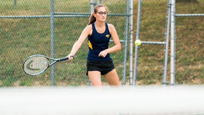 Littlestown's Gloria Zibordi plays against Kennard-Dale's Megan Hawkins during the first round of the 2017 YAIAA 2A singles tennis tournament at South Western on Thursday, Oct. 5, 2017.