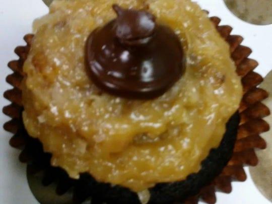 a German chocolate cupcake from Smallcakes Cupcakery.