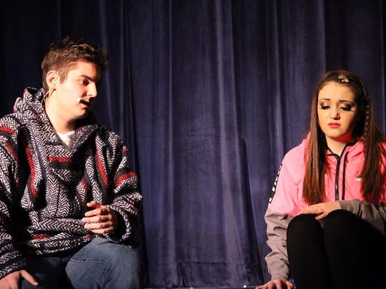"""Brandon Craig as Randall and Victoria Cox as Campbell rehearse a scene for Buena Regional High School Drama Club's production of """"Bring It On the Musical."""""""