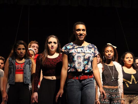 """The Jackson Crew rehearses """"It's All Happening"""" for the Buena Regional High School Drama Club's production of """"Bring It On the Musical."""""""