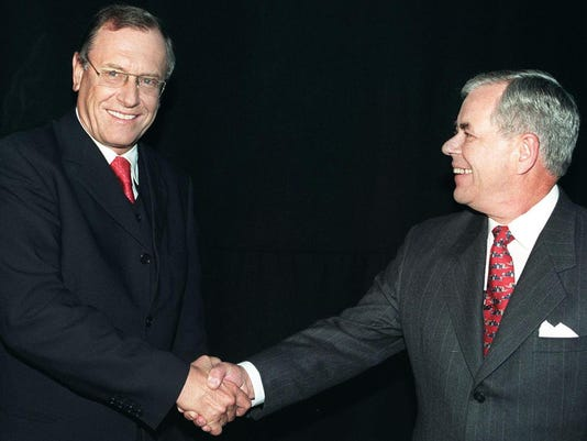 Daimler-Benz chairman Juergen Schrempp (left) and