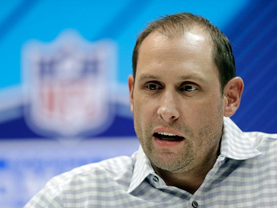 Miami Dolphins head coach Adam Gase speaks during a press conference at the NFL football scouting combine, Wednesday, Feb. 28, 2018, in Indianapolis. (AP Photo/Darron Cummings)
