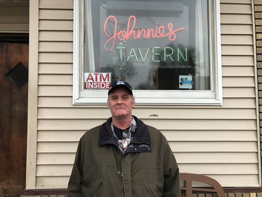 Kim Peters, in front of Johnnies Tavern in Boonton,