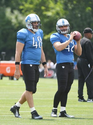 On Monday, the Lions placed rookie Jimmy Landes, right, on injured reserve with a shoulder injury, ensuring a 13th season snapping punts, field goals and extra points for Don Muhlbach.