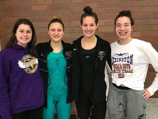 Lexington's 200 free relay crew of Alivia Merkel, Tessa