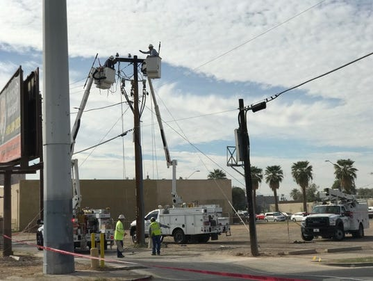 Damaged power line in downtown Phoenix