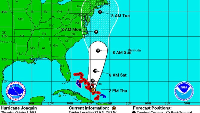 The projected path of Hurricane Joaquin as of 2 p.m. on Oct. 1.
