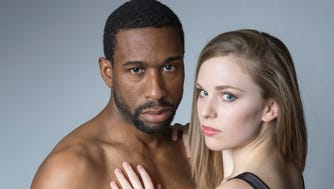 """William Oliver Watkins as Othello and Courtney Lucien as Desdemona in Cincinnati Shakespeare Company's production of William Shakespeare's """"Othello."""""""
