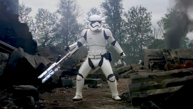 """The stormtrooper (pictured) who calls Finn a """"traitor"""" in """"Star Wars: A Force Awakens"""" is voiced by Delaware native David Acord."""