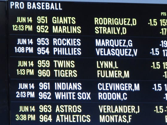 Sports betting odds posted on a video display terminal