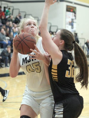 Mt. Juliet's Emma Palmer looks to shoot as Hendersonville's Chelsea Burton defends on Fri.  Feb. 2, 2018.  Photo by Dave Cardaciotto