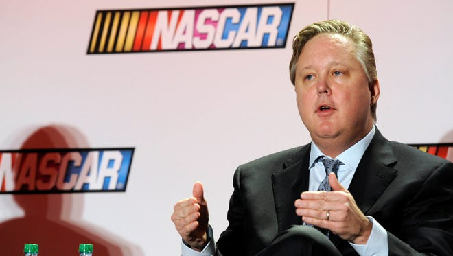 Brian France addresses the media on the state of the sport during the 2014 Sprint Media Tour at the Charlotte Convention Center.