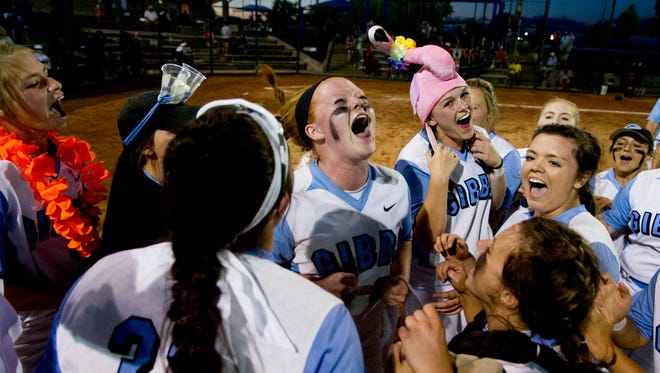 Gibbs' Sierra Hucklebee (26) celebrates after defeating Powell 6-2 during a Divsion 1 Class AAA softball game between Gibbs and Powell at the 2017 TSSAA Spring Fling state championships at Blackman High School in Murfreesboro, Tennessee on Thursday, May 25, 2017.