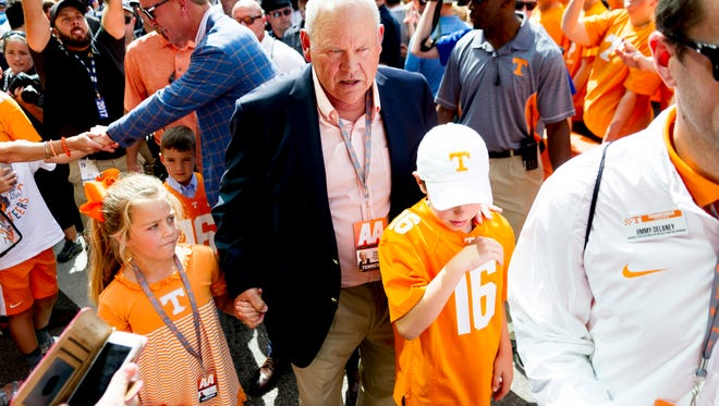 Former coach Phillip Fulmer arrives during the Vol Walk before the Georgia game Sept. 30, 2017.