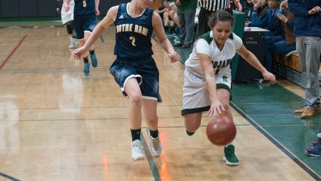 Notre Dame sophomore  guard Kelly Kinion chases the ball on defense.