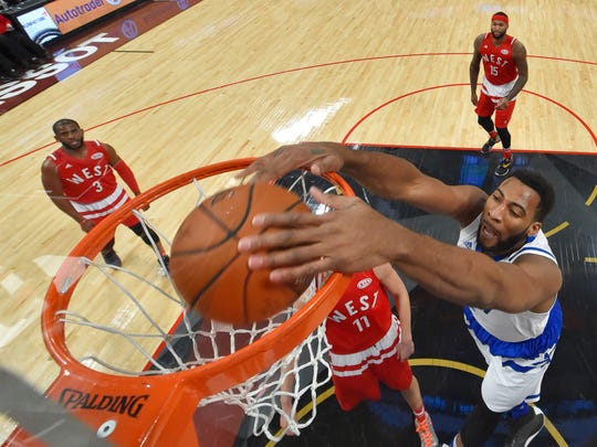 Feb 14, 2016; Toronto, Ontario, CAN; Eastern Conference center Andre Drummond of the Detroit Pistons (0) dunks the ball during the NBA All Star Game at Air Canada Centre.