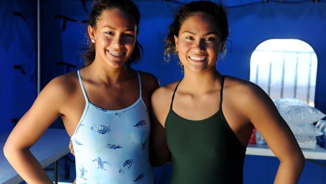 Ventura High's Tea Laughlin, left, and Rio Mesa High's Teagan Monroe each won two titles at the Ventura County Swimming Championships.