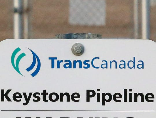 A sign at TransCanada's Keystone pipeline facilities in Hardisty, Alberta.