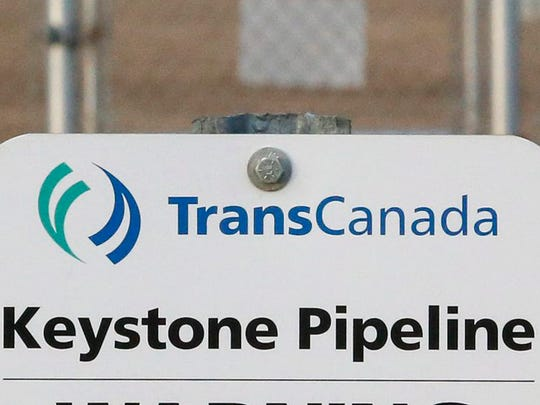 A sign for TransCanada's Keystone pipeline facilities in Hardisty, Alberta, in November 2015.